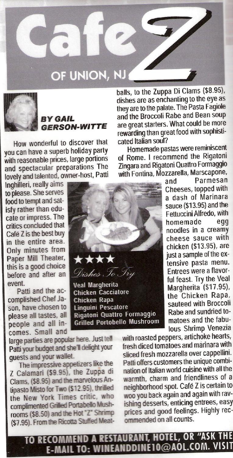 Cafe Z Union Nj Reviews